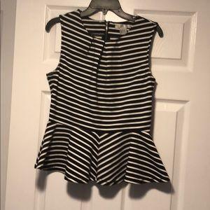 W D • NY black white stripe top size L